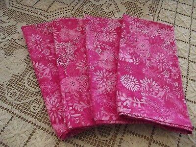 Handmade Hot Pink Floral Pattern Fabric Dinner Napkins, Pink Cloth Napkins (Hot Pink Dinner Napkins)