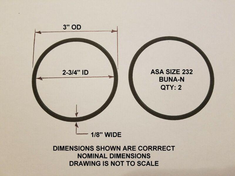 "O-ring Size 232, 3"" OD x 2-3/4"" ID x 1/8"" thick. Buna-N.   QTY 2. Brand New."