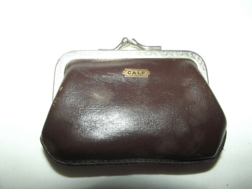 Vintage Brown Calf Leather Change Purse printed silver-tone frame w/kiss clasp