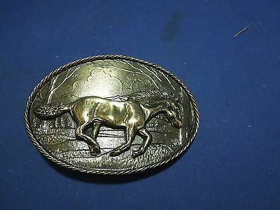 Vintage 1980 Wild Horse Bronco Running Great American Belt Buckle #H747