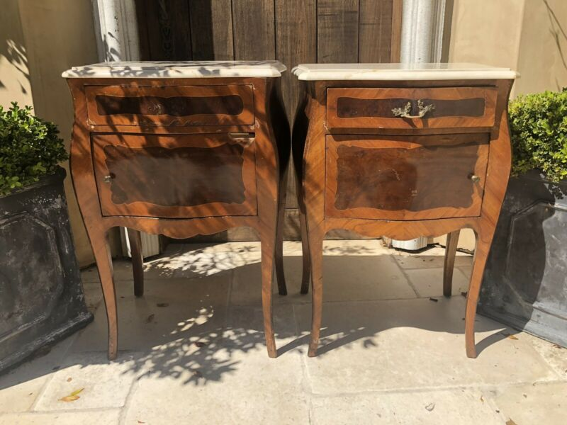 French Antique Nightstands with Marble Top