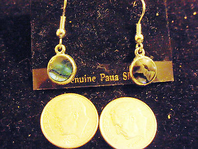 bling silver plated abalone paua shell beach circle hook DANGLE ear ring jewelry