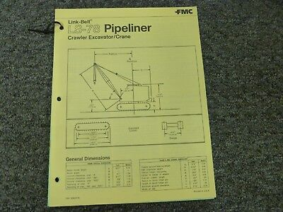 Link-belt Ls-78 Pipeliner Crane Specifications Lifting Capacities Manual