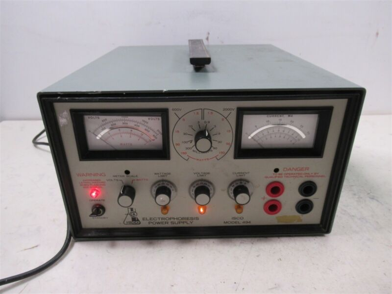 ISCO Electrophoresis Power Supply Model 494 High Voltage Lab Device