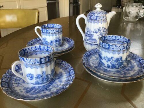 Blau China vintage Bavaria demitasse set cups with saucers and coffee pot