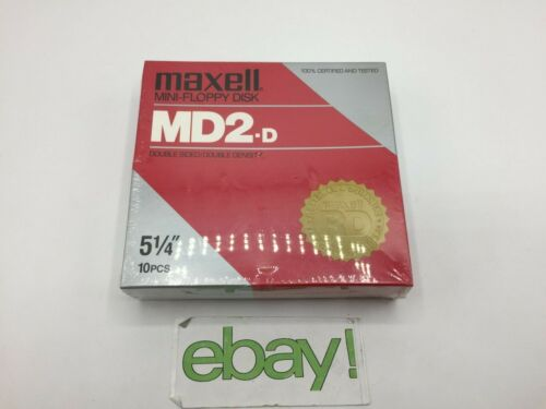 "Maxell MD2D Mini-Floppy Disks 5 1/4"" Double Sided  10 Pieces New Sealed Vintage"