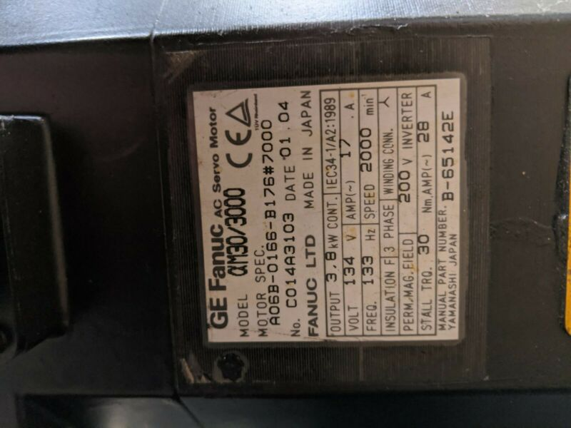 GE Fanuc A06B-0166-B176#7000 AC Servo Drive Motor 200V 3Ph