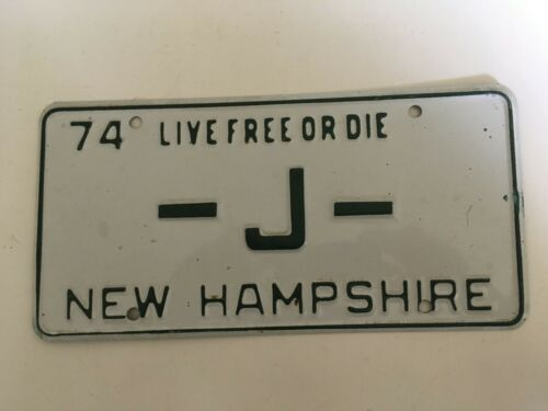 "1974 New Hampshire One Single Letter ""J"" Low Number Digit NICE!!"