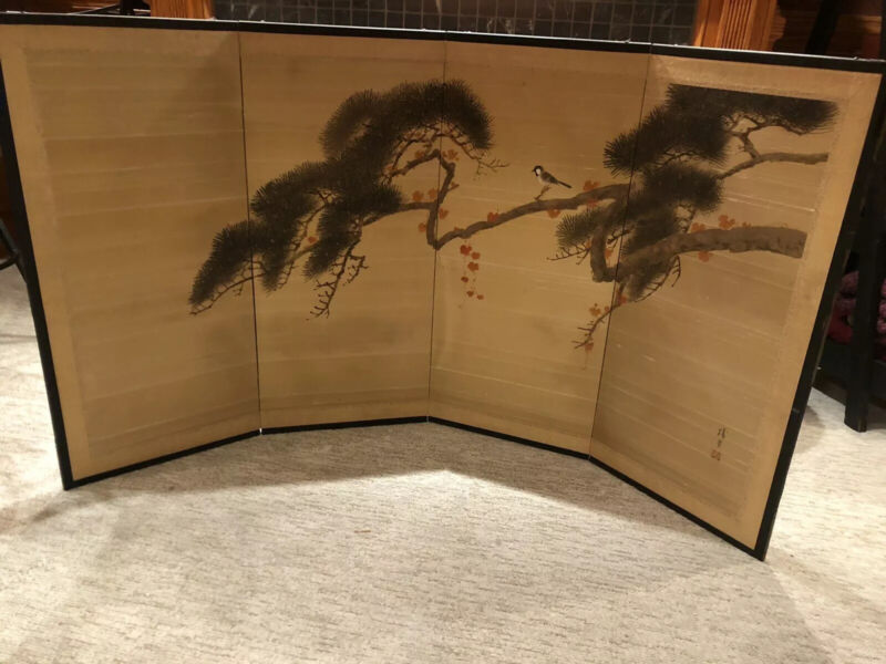 Vintage Mid Century Japanese Silk Screen 4 Panel Hand Made And Painted In Kyoto