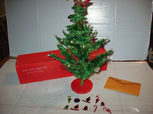 "Vtg 17"" Table Top Christmas Tree With Beads & Foil Ornaments Original Box"