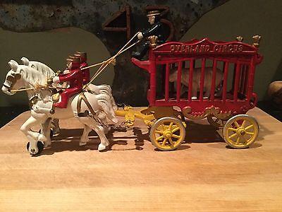 Antique Overland Circus Cast Iron Horse Wagon Set All Original Paint Super Nice!