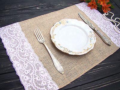 Пластмассовые Burlap and white lace Placemat