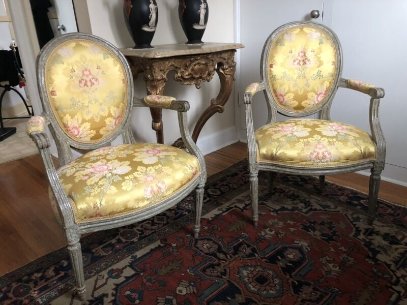 Pair of French Louis XVI 1760s French Fauteuils Original Paint 18th Century