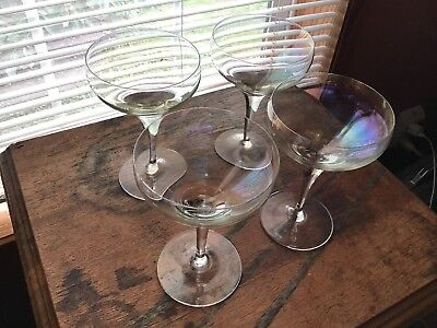 4 Elegant Crystal Multi Lustre Champagne Wine Glasses