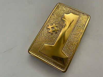 Vtg Teachers Metal Brass Number 1 Paperweight Desk Accessory W Cushioned Base