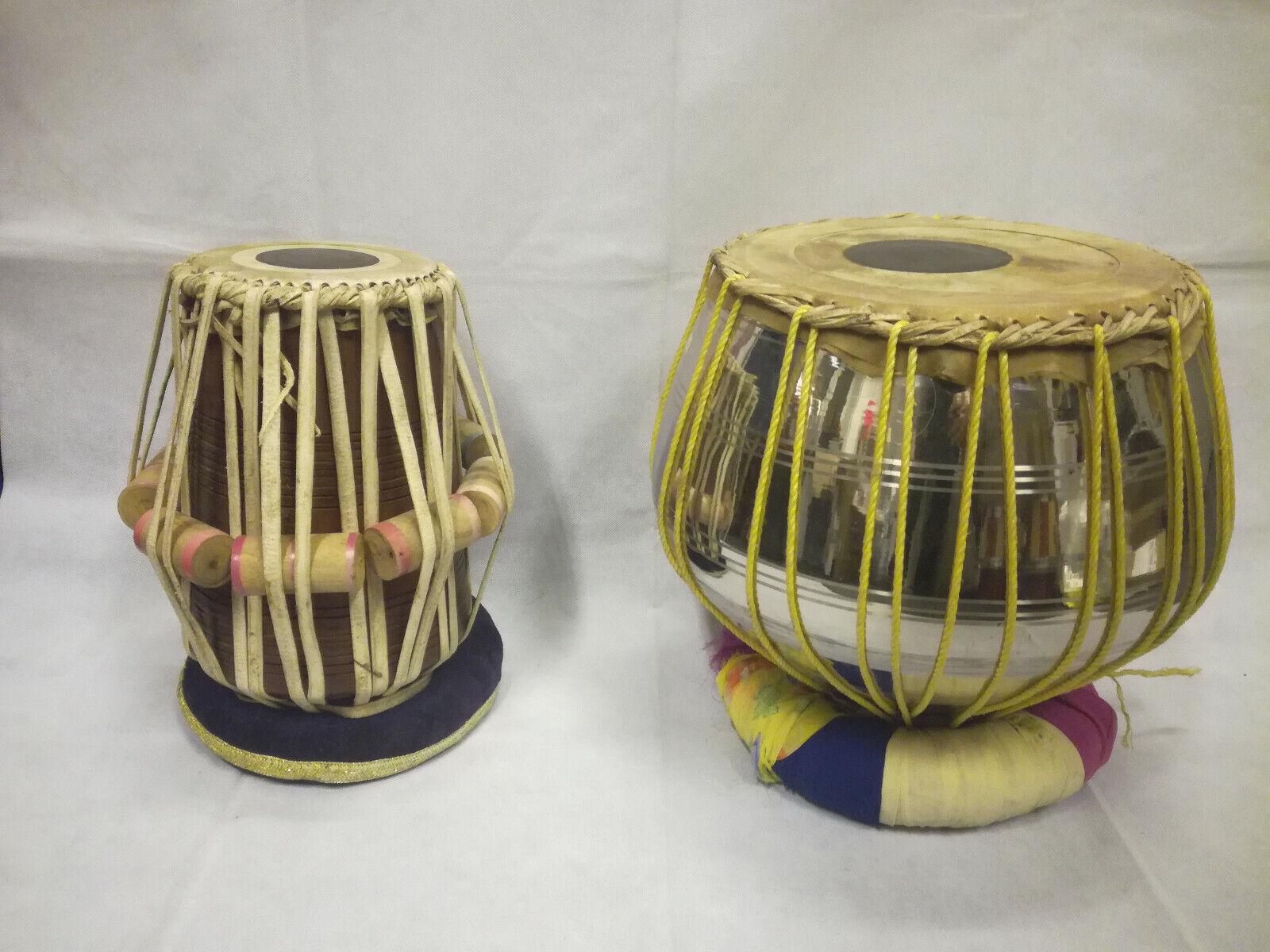 Indische TABLA Trommel DRUMS SET ORIGINAL INDIA BAYAN 24x26 cm, DAYAN 13x25 cm