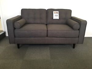 Charcoal Fabric Retro 2 Seat Sofa - FACTORY SECOND Epping Whittlesea Area Preview
