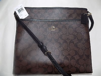NWT COACH F34938 Signature File Bag Crossbody Handbag  Brown & Black  $225.00