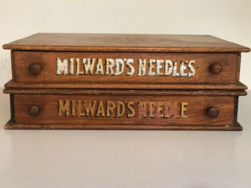Antique  Milwards Needles Wooden Drawers