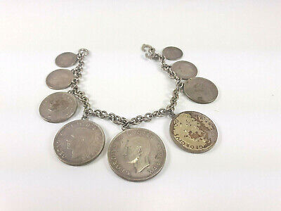 WWII Sterling Silver British Coin Bracelet Half Crown Shillings Sixpence Three P