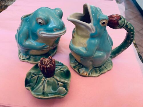 Adorable Ceramic Creamer and Sugar Set in the SHAPE of FROGS with A LILY PAD