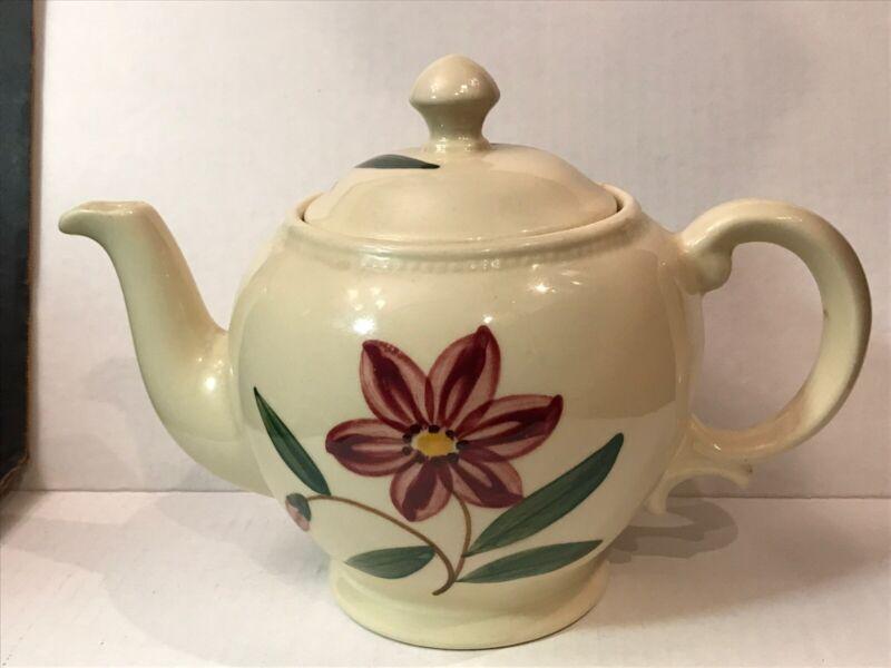 Shawnee USA Pottery Tea Pot Plum colored Flowers/ Vintage