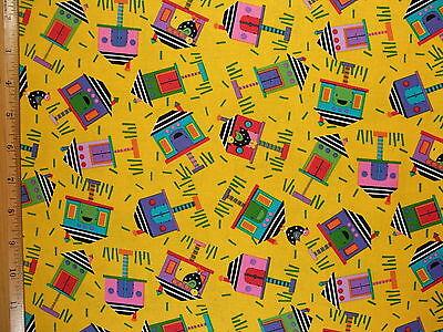 Fun Bird Houses Birds Print cotton fabric BY THE YARD BTY
