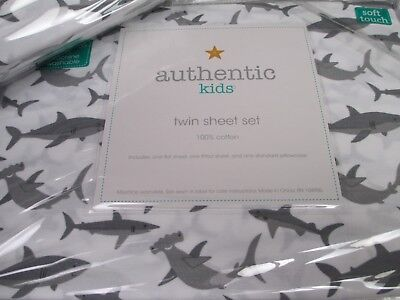 - Authentic Kids White Gray Sharks Sheet Set - Twin