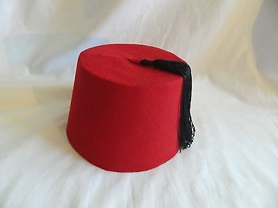 Egyptian Turkish Red Fez Tarboush Hat Black Tassel 22.5