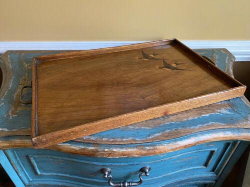 Antique Wood W Inlay Birds Serving Tray Italian ?