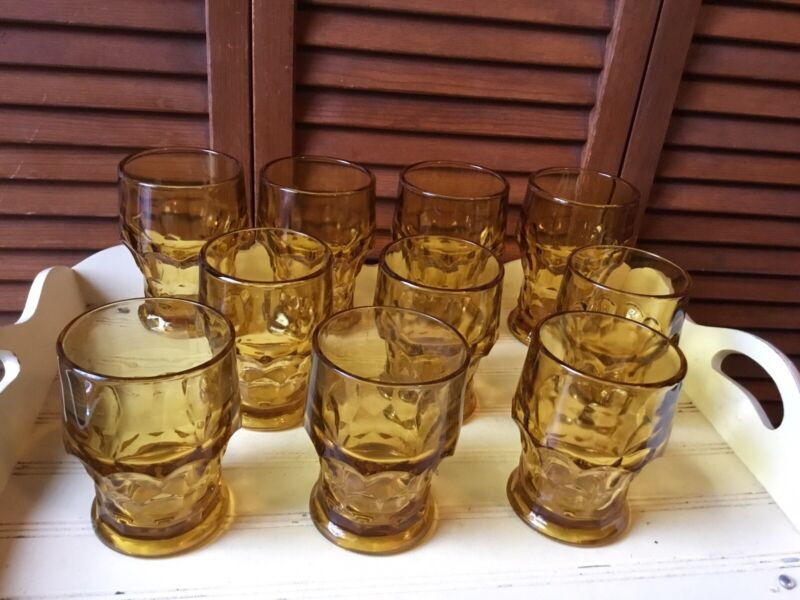 "10 VTG AMBER ANCHOR HOCKING GEORGIAN THUMBPRINT DRINK GLASSES 4) 5"" T 6) 4 1/4 T"