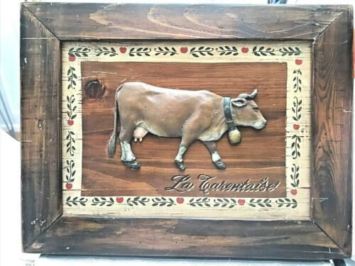 Vintage La Tarentaise French Alps Cow Stencil Wood Sign Deco 12 x 16