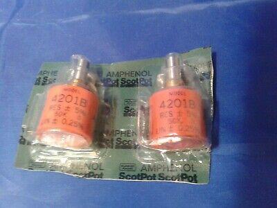 50k Ohm Potentiometer Amphenol 4201b Nos Two Pack