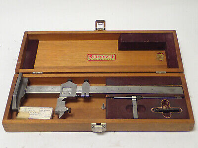 Starrett Vernier Height Gage No 454 12 W Wooden Box And Scriber Tested