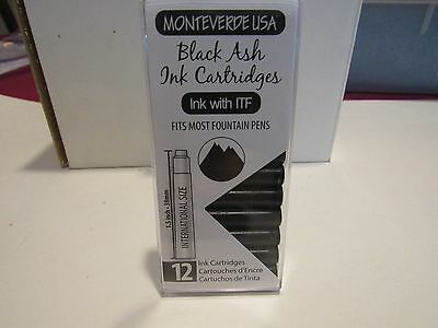12 MONTEVERDE SHORT INK CARTRIDGES-BLACK ASH-FITS MOST FOUNTAIN PENS