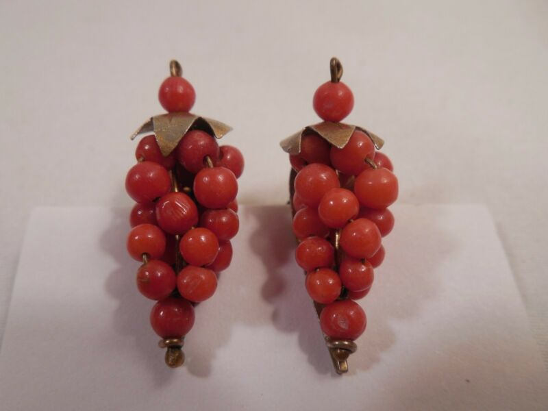 Vintage 800 Silver With Gold Overlay Orange Red Undyed Coral Clip On Earrings