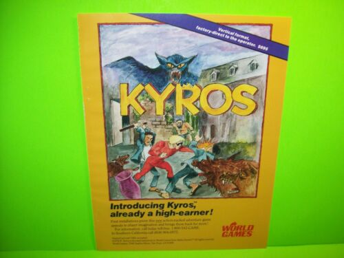 Kyros Vintage 1987 World Games Video Arcade Game Advertising AD Artwork Sheet