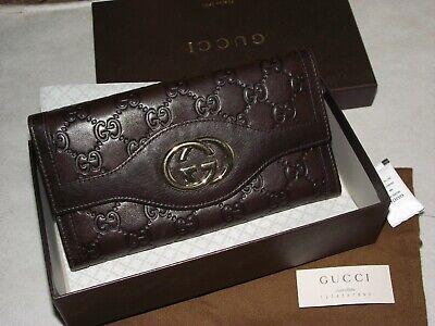 Genuine GUCCI Leather Dark Brown Monogram Purse/Wallet + BOX+ DUST BAG