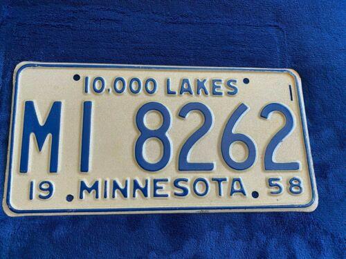 1958 Minnesota License Plate MI 8262