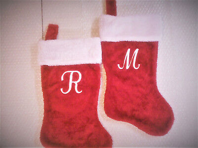 Christmas Stocking With Initial (EMBROIDERED, PERSONALIZED MONOGRAMED WITH *INITIAL*  PLUSH CHRISTMAS STOCKINGS )