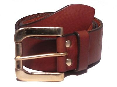 Brass Roller 1 3/4 Inch Leather Belt Waist Size Mens Ladies Black Brown Tan Jean