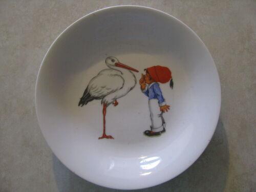 Vintage Childs Bowl Johann Seltmann Vohenstrauss Bavaria Germany Boy Stork Bird