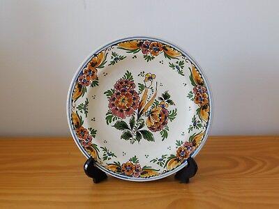 c.19th - Vintage Antique Dutch Delft Multi Color Floral Small Plate Bowl