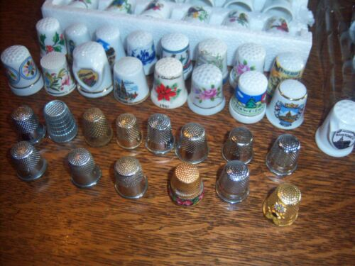 BIG LOT OF 62 ASSORTED THIMBLES, LAST BOX TO LIST, FREE SHIPPING IN THE USA