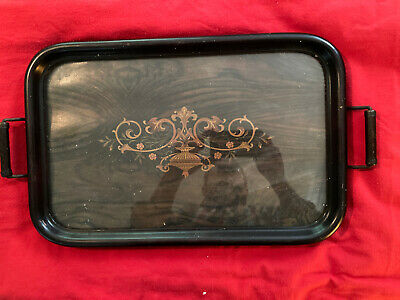 Antique Wood & Glass, Metal Handled Tray. Beautiful Design Check Pics. 11x17""