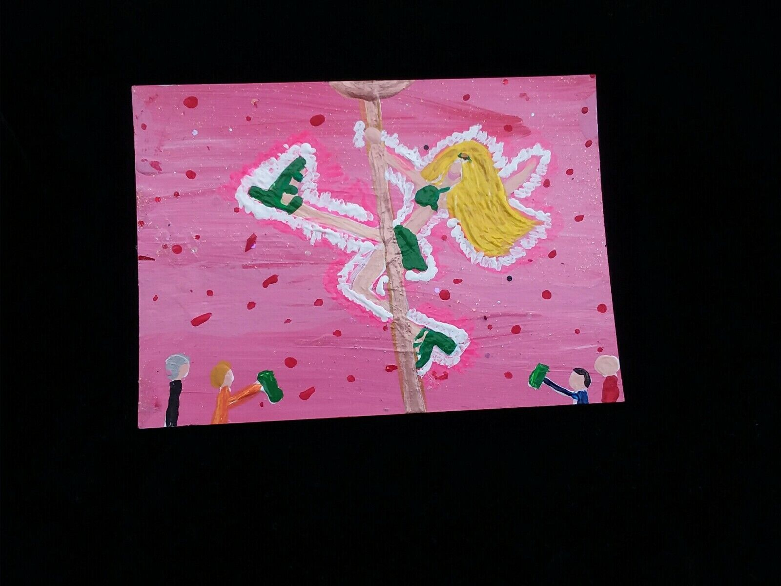 Painting TINA Original ART TRADING CARD ACEO Signed DANCER STRIPPER POLE WOMAN - $12.27