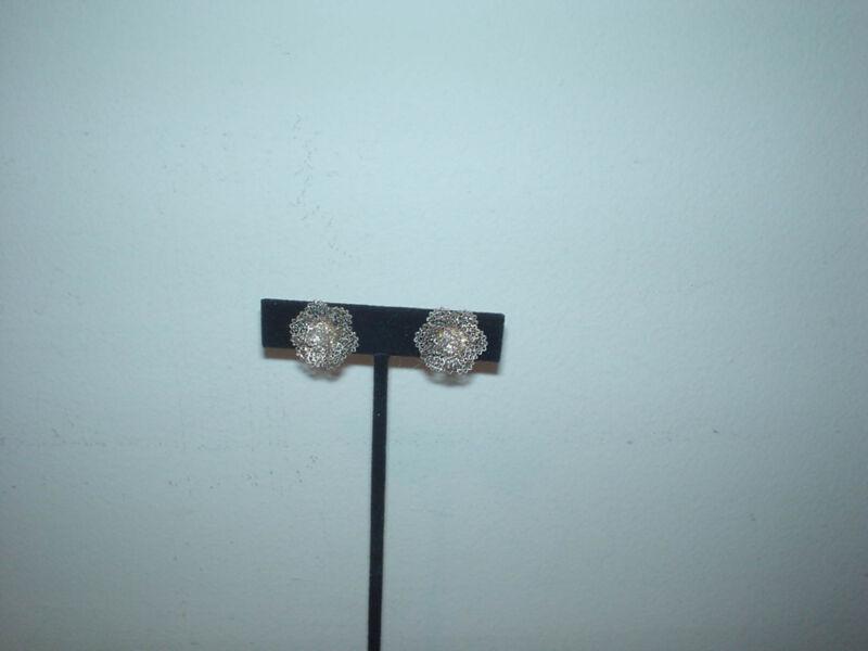 "sterling silver leaf flower filigree rose clip earrings 5/8"" diameter"