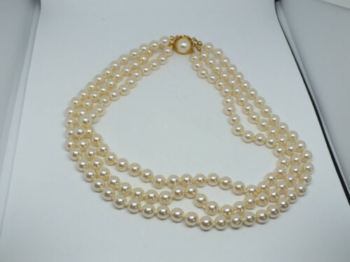 "Necklace Choker Gold Tone 3 Strand Off White Faux Pearls 16"" Long WoW"