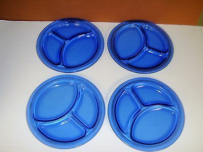 Set of 4 L.E. Smith 1920s-30s Mt. Pleasant Cobalt Blue Glass Grill Plates