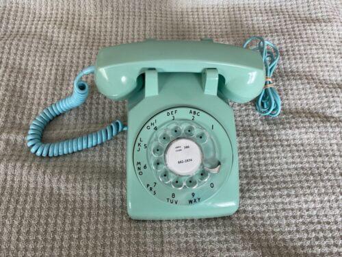 Beautiful Vintage Desk Phone Original 1960's 1970's Teal Green Rotary Telephone